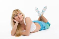 Fille blonde sur le blanc Photos libres de droits