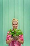 Fille blonde sur un fond de turquoise tenant le panier avec de la laitue Photo stock