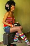 Fille bouclée mignonne de disco Photo stock