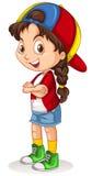Fille canadienne avec une position de chapeau illustration stock
