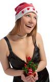 Fille caucasienne heureuse et de smilng de Santa Photo stock