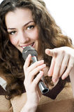 Fille chanteuse Photographie stock