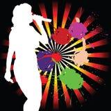 Fille chanteuse silhouette blanche d'art Photo libre de droits