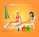 Fille chaude sur une plage Illustration de vecteur Photographie stock libre de droits