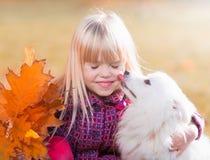 Fille, chien, baiser, amusement, fin  Photos stock