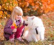 Fille, chien, baiser, amusement, fin  Photographie stock libre de droits