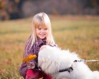 Fille, chien, baiser, amusement, fin  Image libre de droits