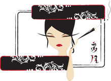 Fille chinoise avec la cigarette Images libres de droits