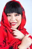 Fille chinoise en rouge photos stock