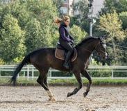 Fille conduisant un cheval Photographie stock