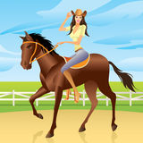 Fille conduisant un cheval dans le type occidental Image stock