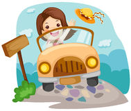 Fille conduisant un véhicule Photographie stock