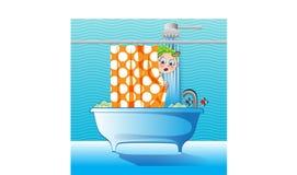 Fille confuse dans la salle de bains Images stock