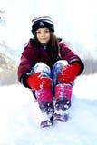 Fille courageuse prête pour l'hiver Photo libre de droits