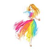 Fille courante de ressort d'aquarelle à la robe légère de mousseline de soie Photo stock