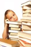 Fille d'école avec des livres Photographie stock libre de droits