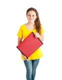 Fille d'école avec le dossier rouge Photo stock