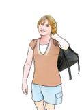 Fille d'école avec le sac à dos Photo libre de droits