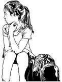 Fille d'école avec le sac à dos Image libre de droits
