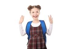 Fille d'école dans l'excitation photos libres de droits