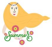 Fille d'été avec de longs cheveux jaunes images libres de droits