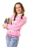 Fille d'étudiant avec la pile des livres Image libre de droits