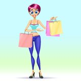 Fille d'achats Image stock