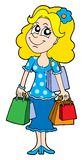 Fille d'achats blonde Image stock