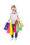 Fille d'achats enthousiaste et jeune Images libres de droits
