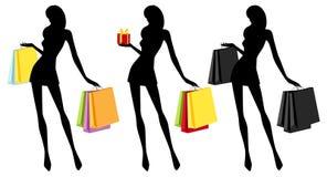 Fille d'achats (silhouette) Images libres de droits