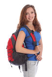 Fille d'adolescent d'école avec le sac à dos et le sourire heureux Image libre de droits