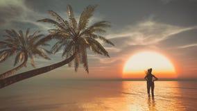 Fille d'adolescent sur la plage Images libres de droits