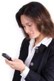 Fille d'affaires au téléphone photographie stock