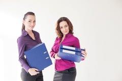 Fille d'affaires avec des dossiers avec des documents Images stock