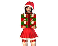 Fille d'aide de Santa en rouge avec le cadre de cadeau Photos stock