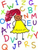 Fille d'alphabet Images stock