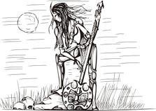 Fille d'Amazone avec l'épée la nuit Image libre de droits