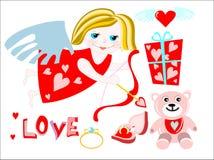 fille d'ange avec le présent de valentine Photo stock
