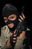 Fille d'armée dans le masque photographie stock libre de droits