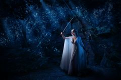 Fille d'Elf dans la version de forêt de nuit image libre de droits