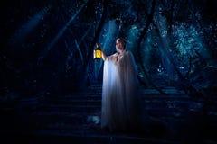 Fille d'Elf dans la version de forêt de nuit photos stock