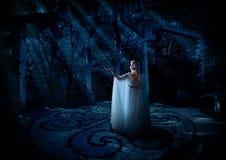 Fille d'Elf dans la version de forêt de nuit photographie stock libre de droits
