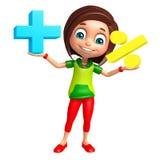 Fille d'enfant avec le signe de maths Photo libre de droits