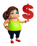 Fille d'enfant avec le symbole dollar Images libres de droits