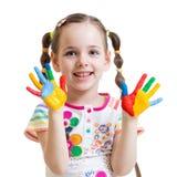 Fille d'enfant avec les mains peintes Photos libres de droits