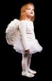 Fille d'enfant d'ange dans le blanc Images libres de droits