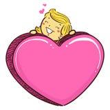 Fille d'enfant de bâton avec le grand symbole rose de coeur illustration stock