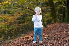 Fille d'enfant en bas âge jouant dans la forêt Photos libres de droits