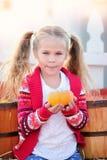 Fille d'enfant en bas âge sélectionnant un potiron pour Halloween Photographie stock libre de droits