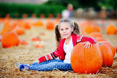 Fille d'enfant en bas âge sélectionnant un potiron pour Halloween Photo stock